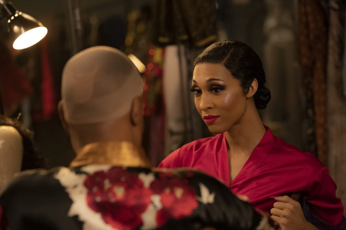 Mj Rodriguez and Billy Porter applying makeup in 'Pose.'