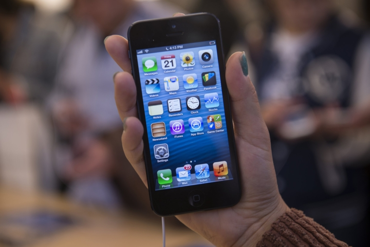 The iPhone 5 at the Apple Store Boston, MA on September 21, 2012. (Photo by Rick Friedman/Corbis via Getty Images)