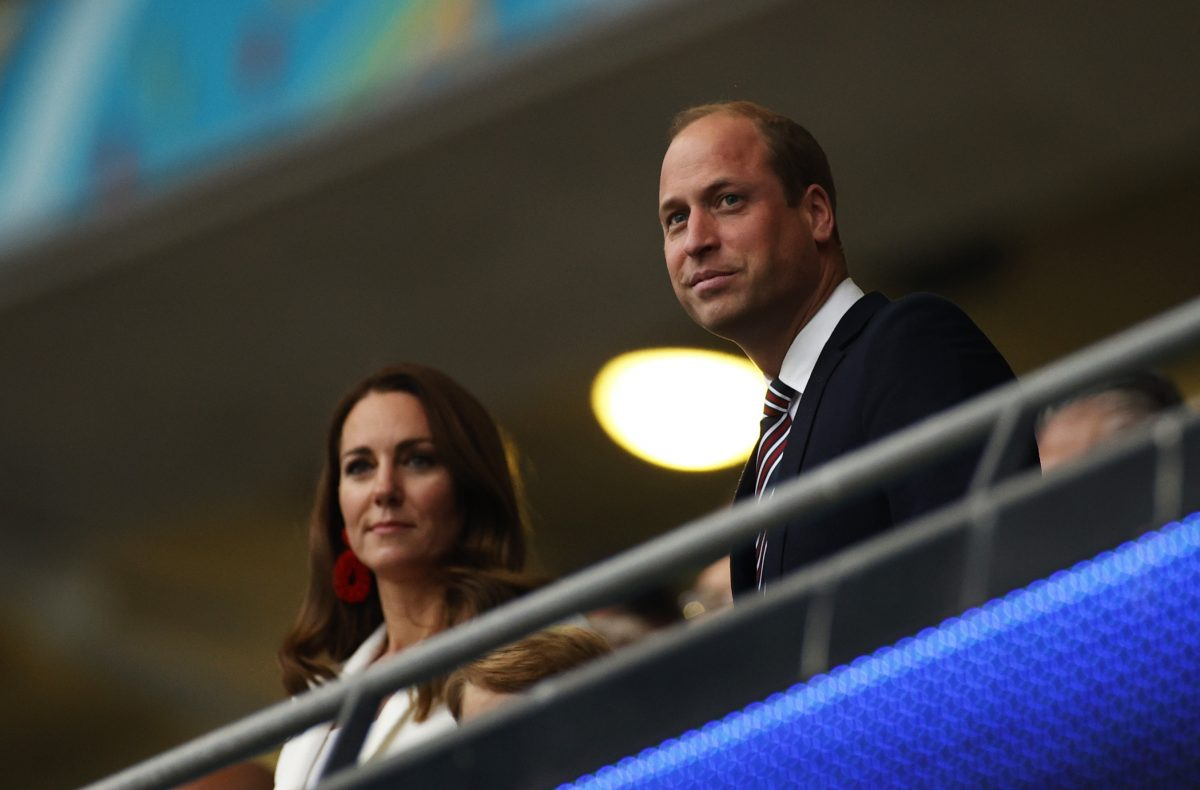 Prince William and Kate Middleton looking on before UEFA Euro 2020 Championship Final on July 11, 2021