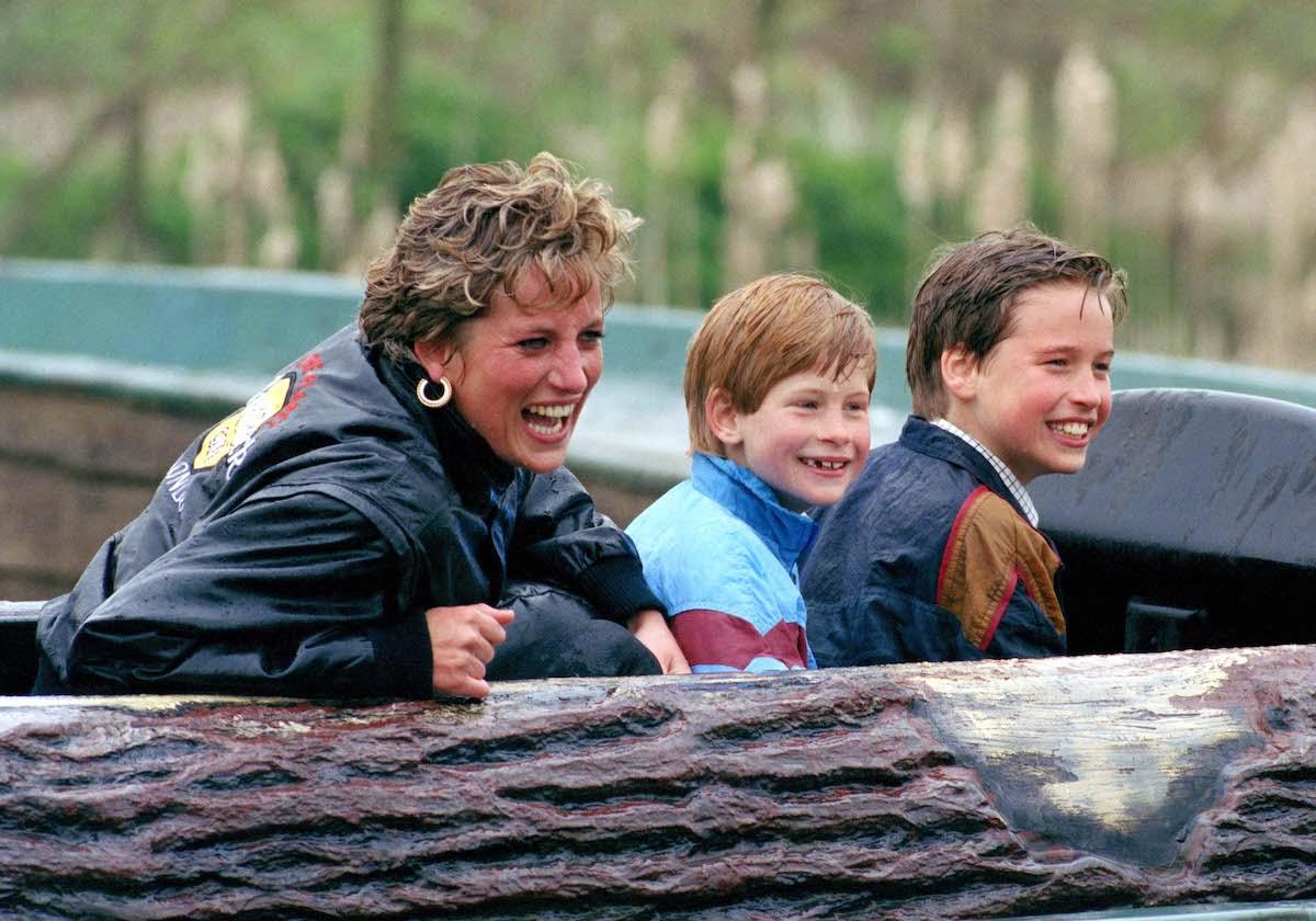 Diana, Princess Of Wales, Prince William and Prince Harry visit the 'Thorpe Park' Amusement Park.