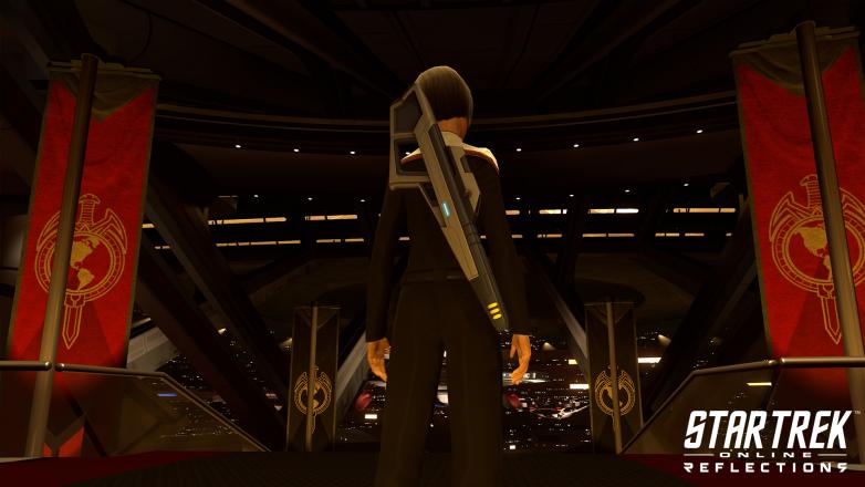 Starfleet officer in a Terran Empire ship from Star Trek Online Reflections