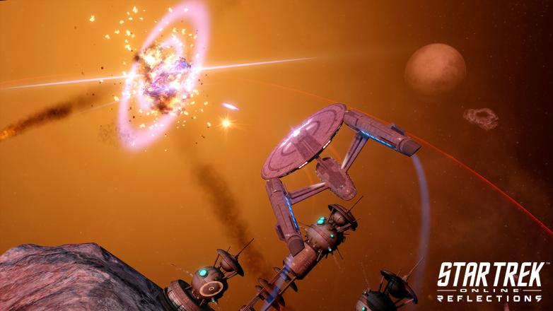 Starfleet ship flying into battle in Star Trek Online: Reflections