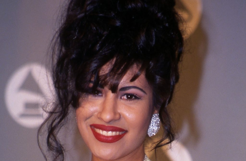 Selena in the press room at the 1994 Grammy Awards