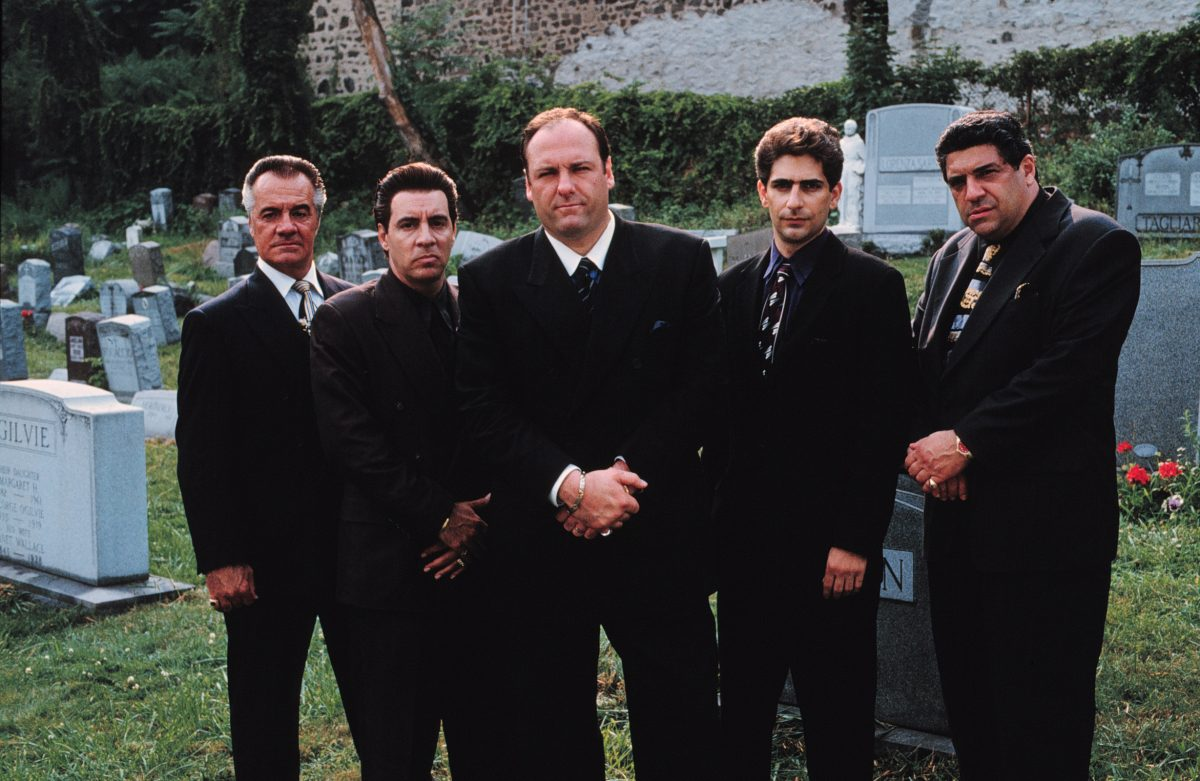 James Gandolfini and other 'Sopranos' cast members standing outside