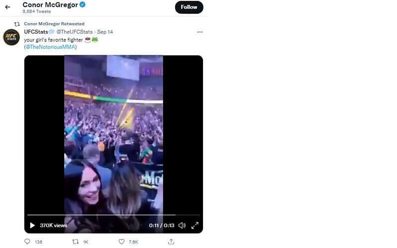 Screenshot of Conor McGregor's retweeted video clip
