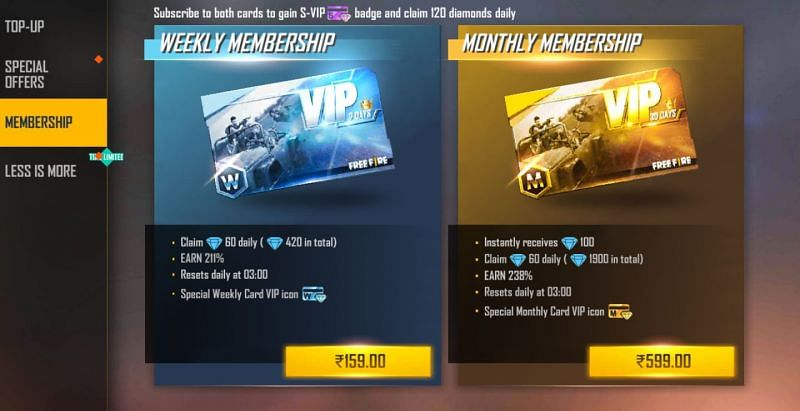 Two different types of Memberships are present in Garena Free Fire (Image via Free Fire)