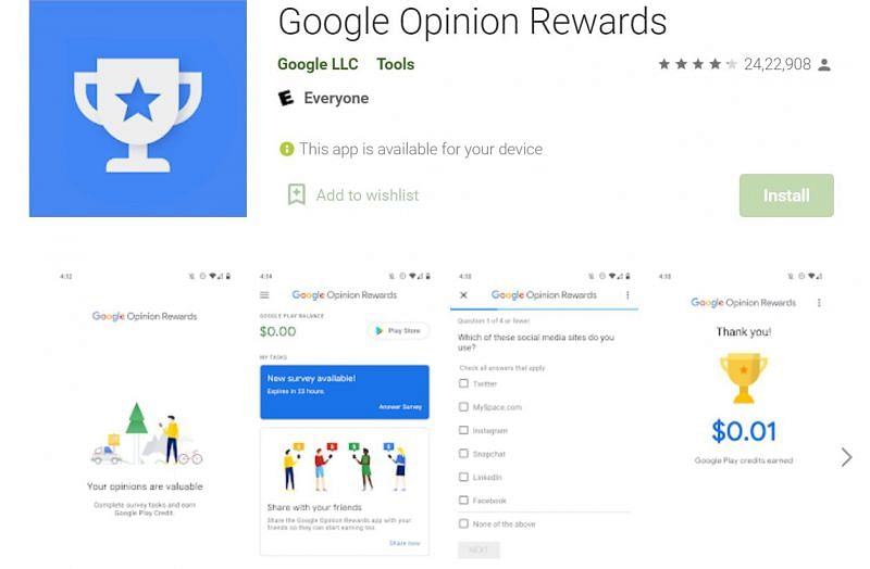 Google Opinion Rewards can be used to get free diamonds in Free Fire (Image via Google Play Store)