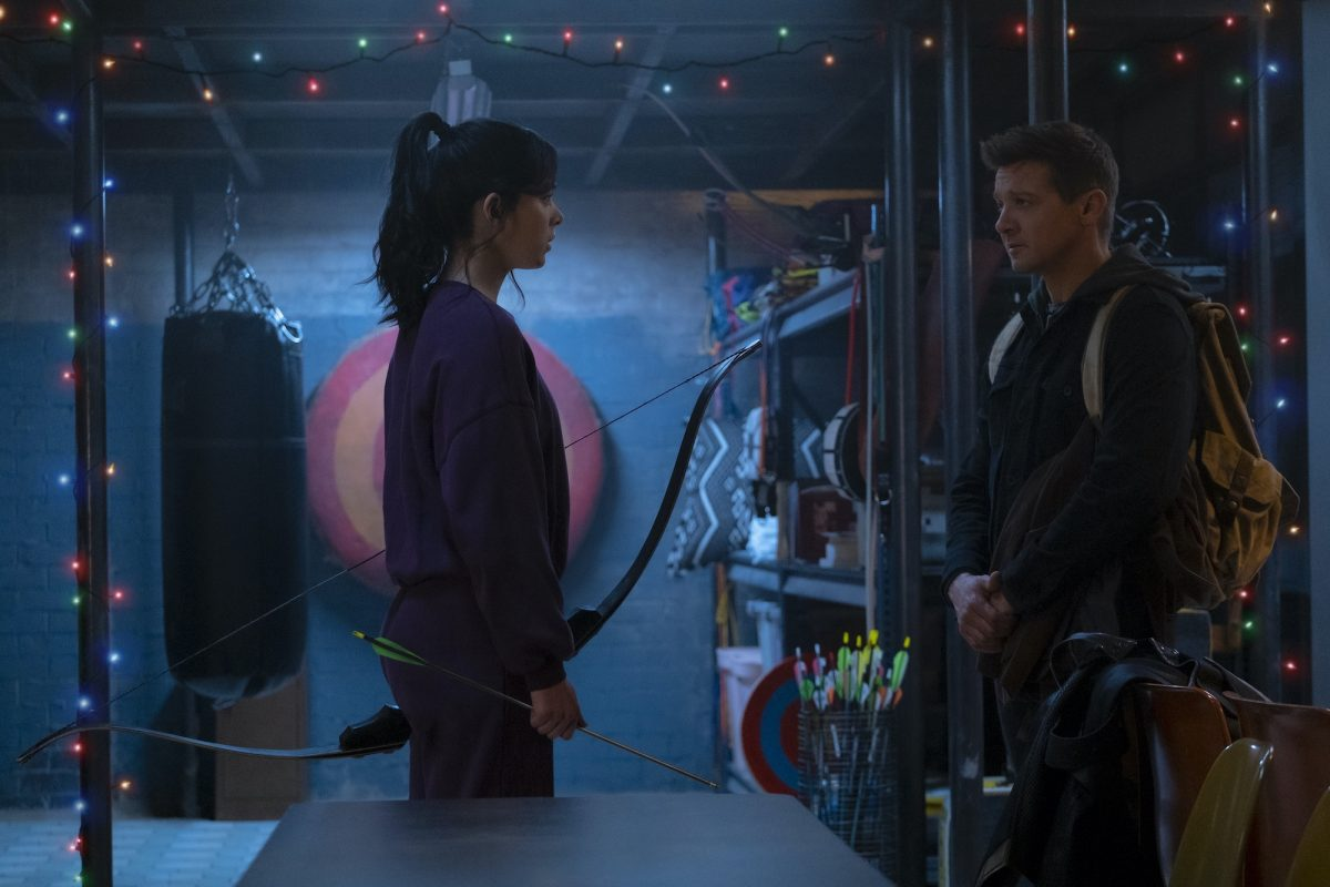 Hailee Steinfeld as Kate Bishop and Jeremy Renner as Clint Barton in the new Disney+ series 'Hawkeye'