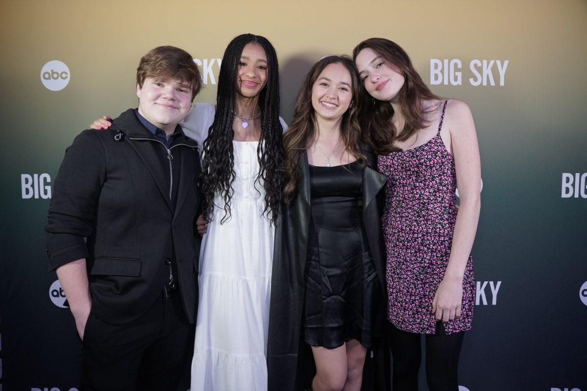 Jeremy Ray Taylor, Troy Leigh-Anne Johnson, Madelyn Kientz, and Lola Skye Reid posing at the 'Big Sky' Season 2 Encore premiere