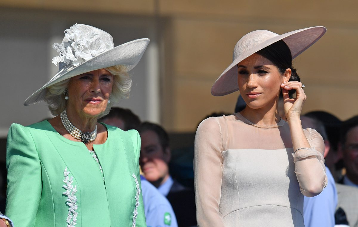 Camilla Parker Bowles and Meghan Markle standing side-by-side at Prince Charles 70th Birthday Celebration