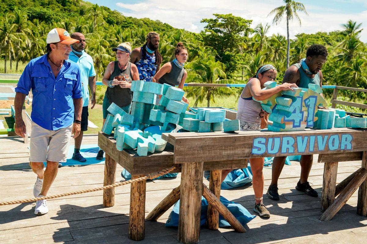 Jeff Probst talking to the 'Survivor' Season 41 cast during a challenge