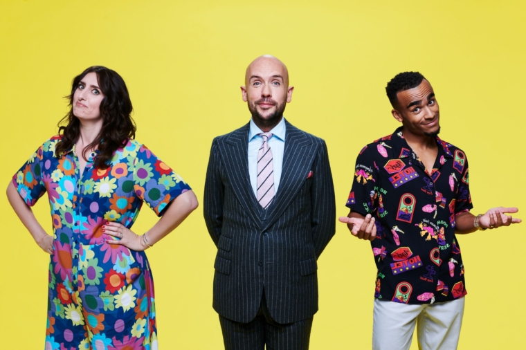 Pictured: Complaints Welcome presenters (L-R) Jessica Knappett, Tom Allen and Munya Chawawa. TV still Channel 4