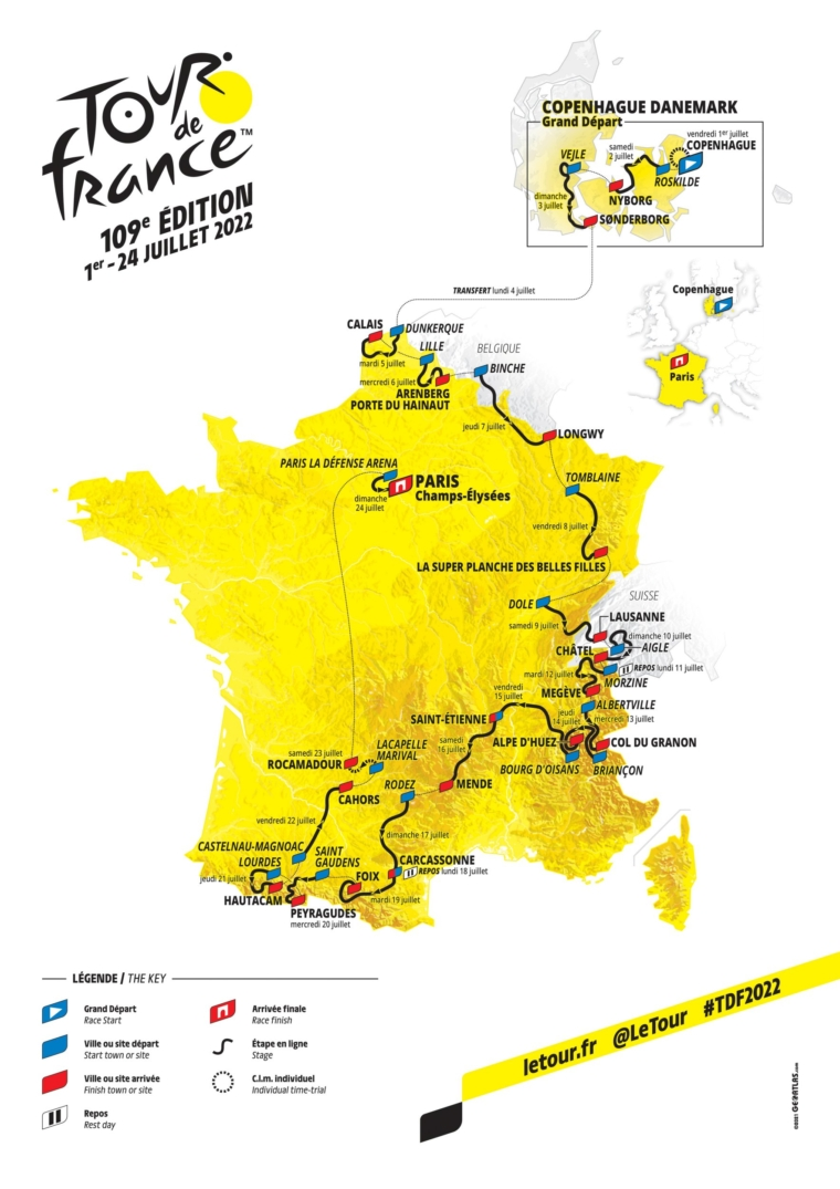 The 2022 Tour de France starts in Denmark and ends on the Champs Elysees in Paris