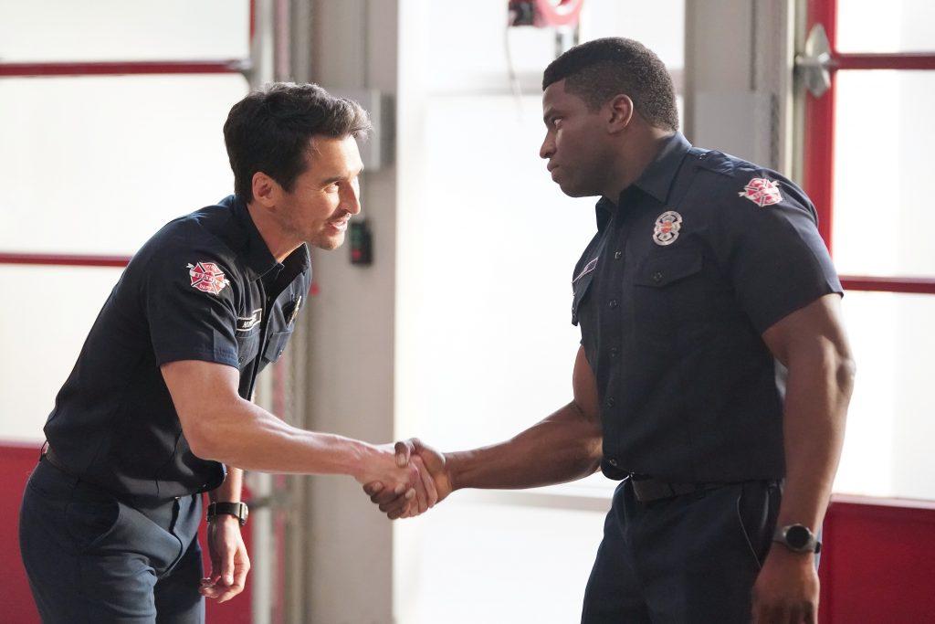 Station 19 Season 5 Episode 2 Jay Hayden and Okieriete Onaodowan shake hands