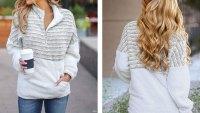 MEROKEETY Long Sleeve Zipper Sherpa Pile Pullover