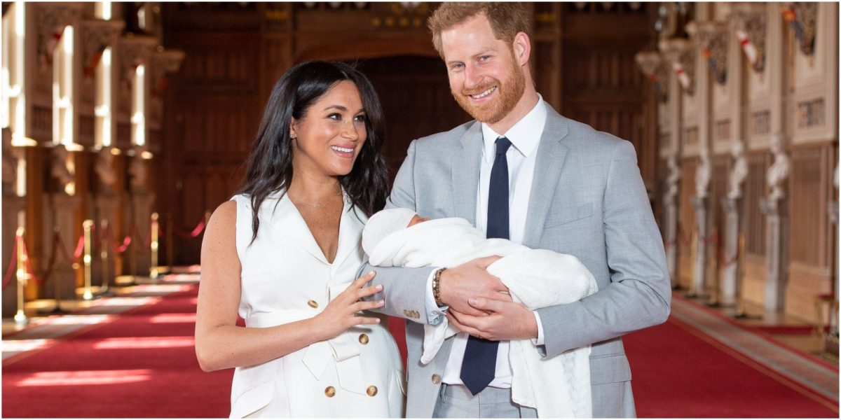 Prince Harry and Meghan Markle hold Archie after his 2019 birth.